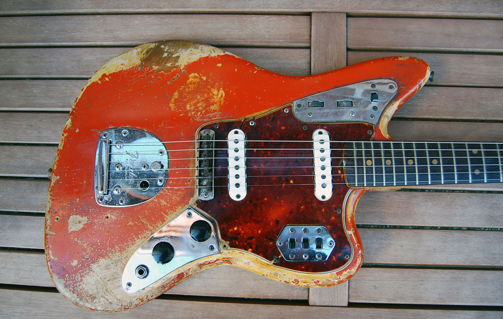 fender jaguar red over blonde - 1964