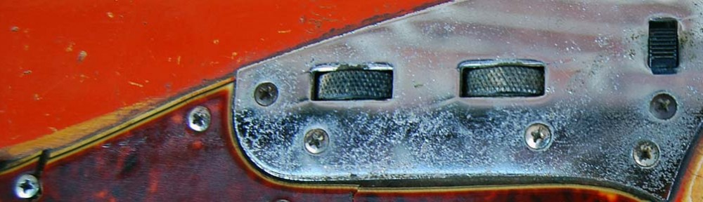 fender jaguar red over blonde detail - 1964